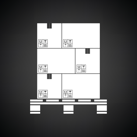 white boxes: Cardboard package boxes on pallet icon. Black background with white. Vector illustration.