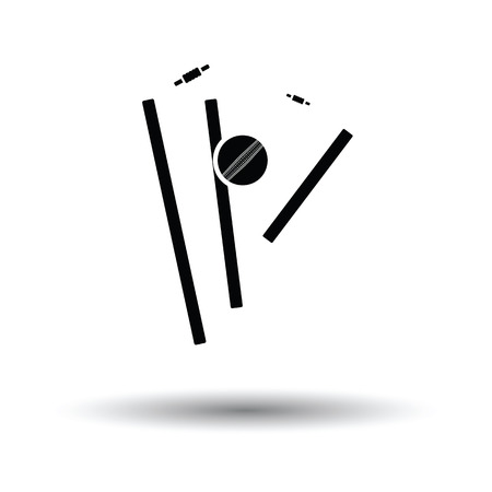 Cricket wicket icon. White background with shadow design. Vector illustration. Illustration