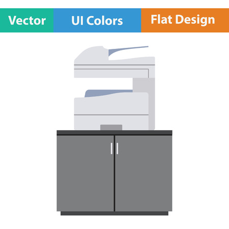 multifunction printer: Copying machine icon. Flat design. Vector illustration.