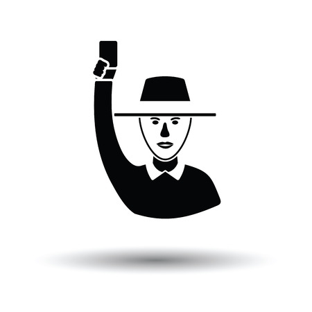 Cricket umpire with hand holding card icon. White background with shadow design. Vector illustration. Illustration