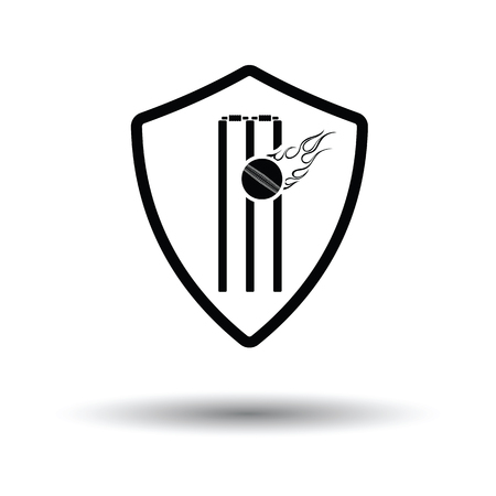 Cricket shield emblem icon. White background with shadow design. Vector illustration.