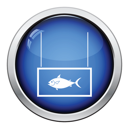 guidepost: Fish market department icon. Glossy button design. Vector illustration.