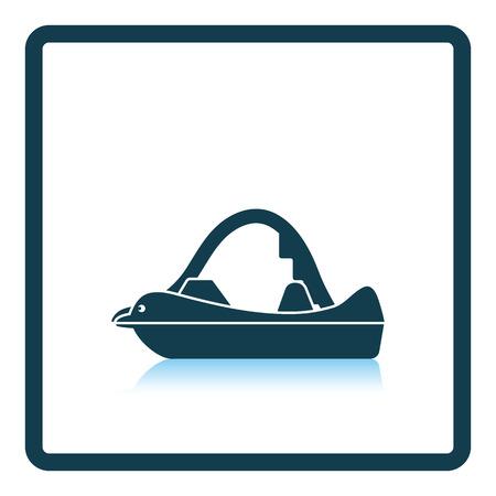 Icône de bateau de dauphin. Conception de réflexion d'ombre. Illustration vectorielle Banque d'images - 76782487
