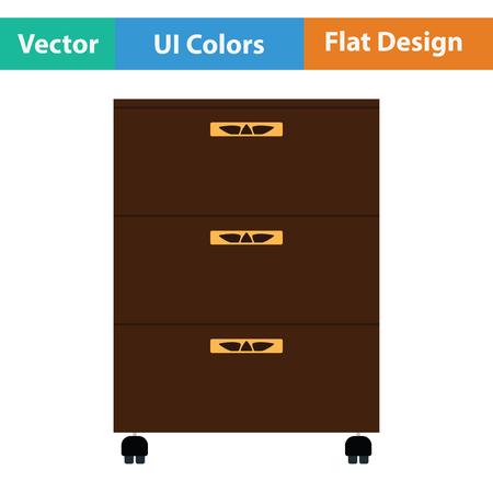 furniture store: Office cabinet icon. Flat design. Vector illustration.