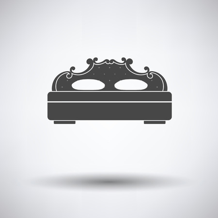 hotel rooms: King-size bed icon on gray background, round shadow. Vector illustration. Illustration