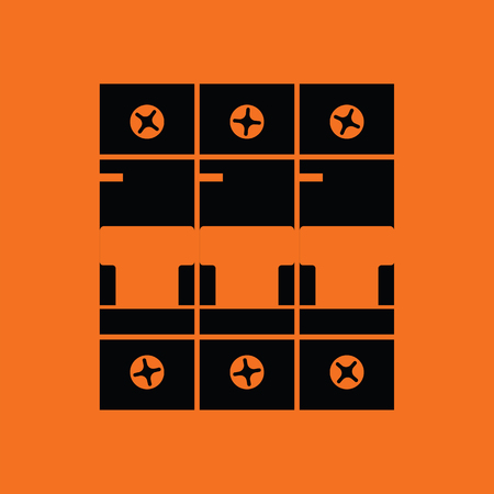 Circuit breaker icon. Orange background with black. Vector illustration. Stok Fotoğraf - 77033625