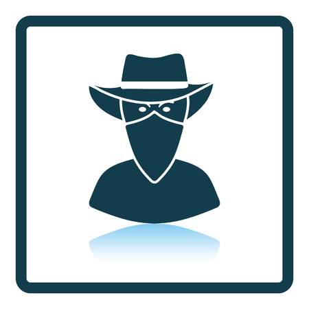 villain: Cowboy with a scarf on face icon. Shadow reflection design. Vector illustration.