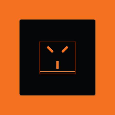 Israel electrical socket icon. Orange background with black. Vector illustration. Illustration