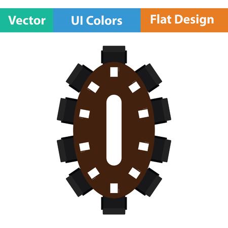 Negotiating table icon. Flat design. Vector illustration.