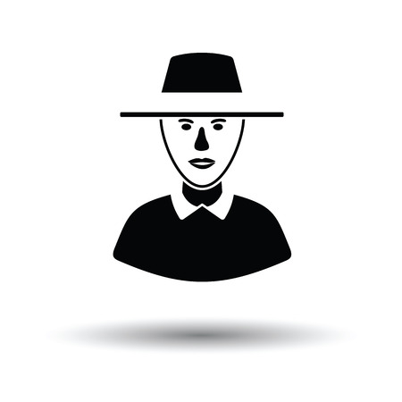 umpire: Cricket umpire icon. White background with shadow design. Vector illustration.
