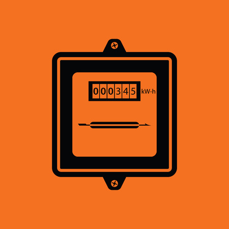 kilowatt: Electric meter icon. Orange background with black. Vector illustration.