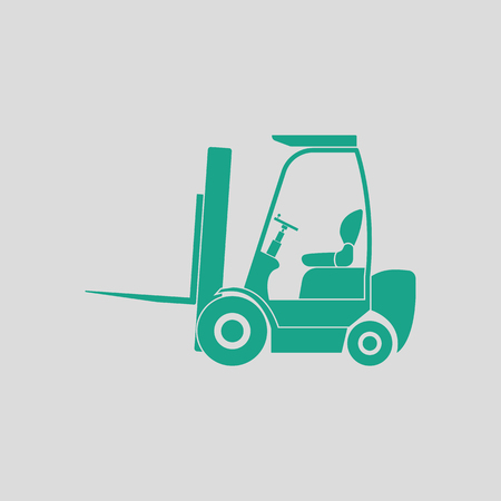 man profile: Warehouse forklift icon. Gray background with green. Vector illustration.
