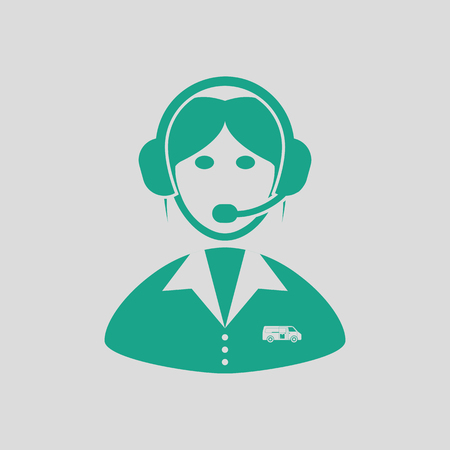 Logistic dispatcher consultant icon. Gray background with green. Vector illustration.