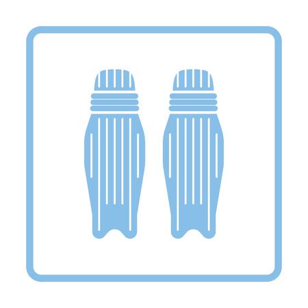 pad: Cricket leg protection icon. Blue frame design. Vector illustration. Illustration