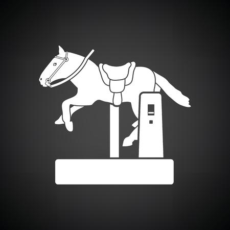 automat: Horse machine icon. Black background with white. Vector illustration.