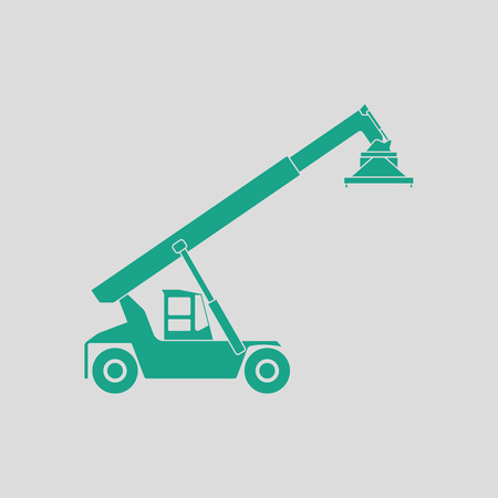 Port loader icon. Gray background with green. Vector illustration. Illustration