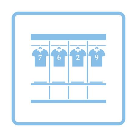 closet door: Locker room icon. Blue frame design. Vector illustration.