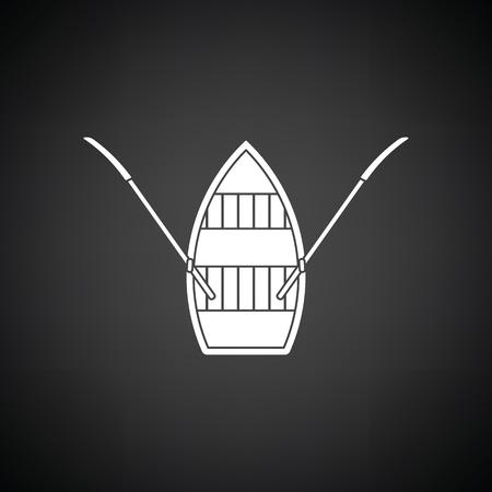 Icono de bote a pedal. Fondo negro con blanco. Ilustracion vectorial