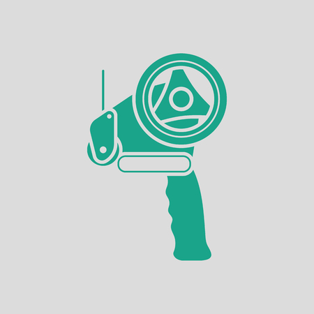 Scotch tape dispenser icon. Gray background with green. Vector illustration.