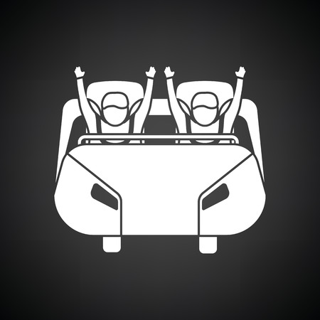 action girl: Roller coaster cart icon. Black background with white. Vector illustration.