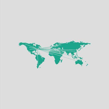 Carte avec des indications pour toutes les parties du monde. Fond gris avec vert. Illustration vectorielle.