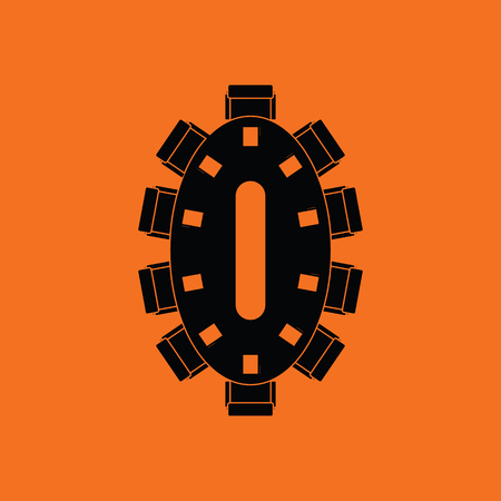 Negotiating table icon. Orange background with black. Vector illustration.