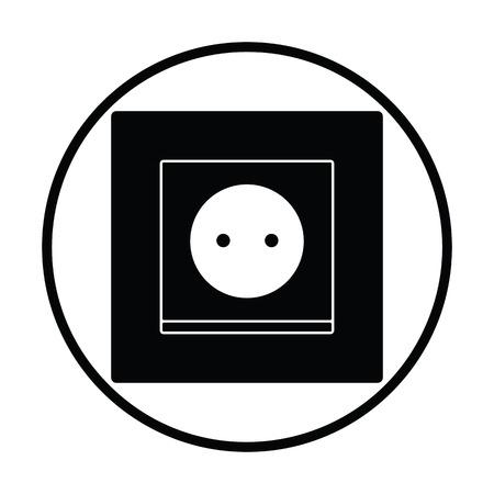 Icône de prise électrique en Europe. Conception de cercle mince. Illustration vectorielle.