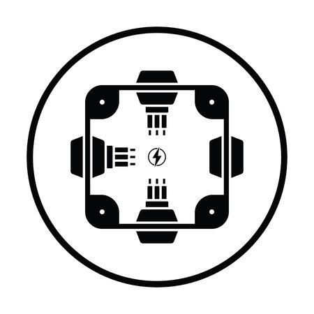 Electrical  junction box icon. Thin circle design. Vector illustration. Illustration