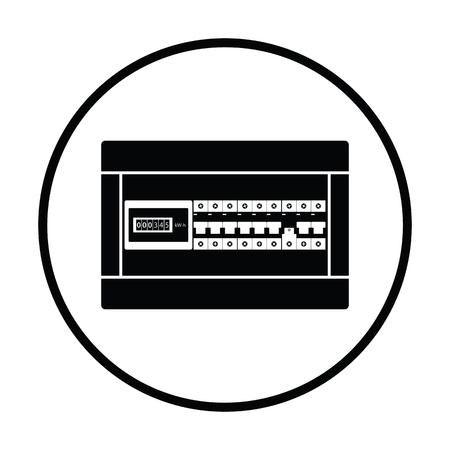 Circuit breakers vak pictogram. Ontwerp met dunne cirkels. Vector illustratie.