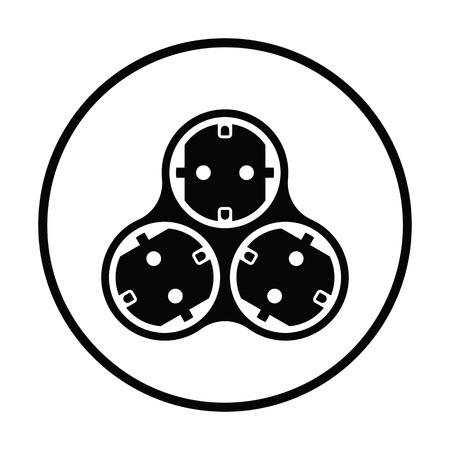 AC splitter icon. Thin circle design. Vector illustration. Illustration