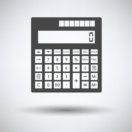 investment concept: Statistical calculator icon on gray background, round shadow. Vector illustration. Illustration