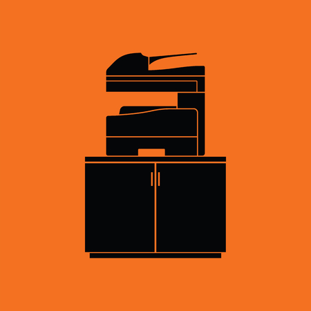 multifunction printer: Copying machine icon. Orange background with black. Vector illustration. Illustration