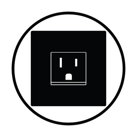Icône de la prise électrique USA. Conception de cercle mince. Illustration vectorielle Vecteurs