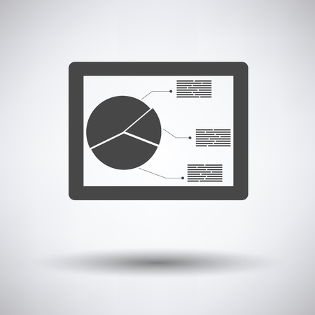 investment concept: Tablet with analytics diagram icon on gray background, round shadow. Vector illustration.