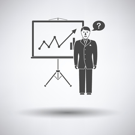 investment concept: Clerk near analytics stand icon on gray background, round shadow. Vector illustration. Illustration