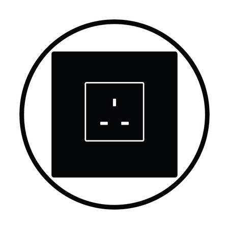 Icône de la prise électrique de Grande-Bretagne. Conception de cercle mince. Illustration vectorielle