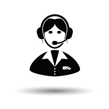 answer: Logistic dispatcher consultant icon. White background with shadow design. Vector illustration.