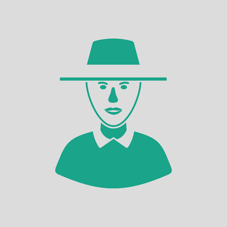 umpire: Cricket umpire icon. Gray background with green. Vector illustration.