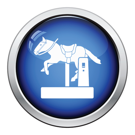 stool: Horse machine icon. Glossy button design. Vector illustration.