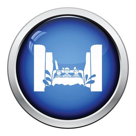 Water boat ride icon. Glossy button design. Vector illustration.