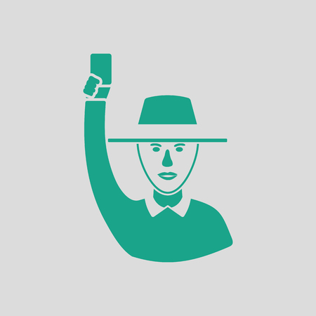 judge players: Cricket umpire with hand holding card icon. Gray background with green. Vector illustration. Illustration