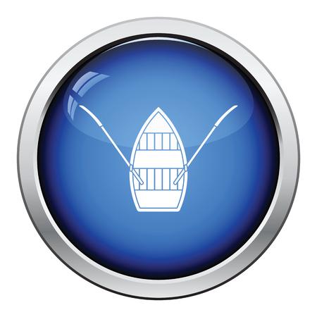 Icône du bateau à pédales. Conception de boutons brillants. Illustration vectorielle. Banque d'images - 78092500