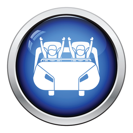 high speed rail: Roller coaster cart icon. Glossy button design. Vector illustration.