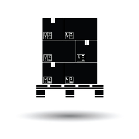 white boxes: Cardboard package boxes on pallet icon. White background with shadow design. Vector illustration.