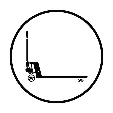 Hydraulic trolley jack icon. Thin circle design. Vector illustration. Illustration