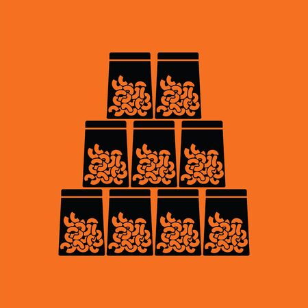 Macaroni in packages icon. Orange background with black. Vector illustration. Illustration