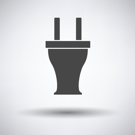 power cables: Electrical plug icon on gray background, round shadow. Vector illustration.