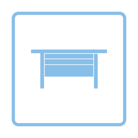 wood working: Boss office table icon. Blue frame design. Vector illustration.