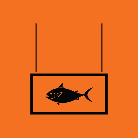 Fish market department icon. Orange background with black. Vector illustration.