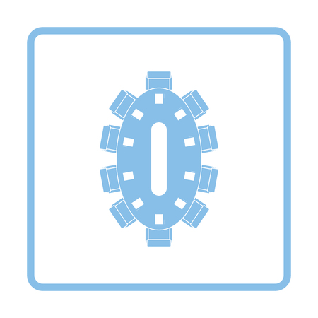 Negotiating table icon. Blue frame design. Vector illustration.